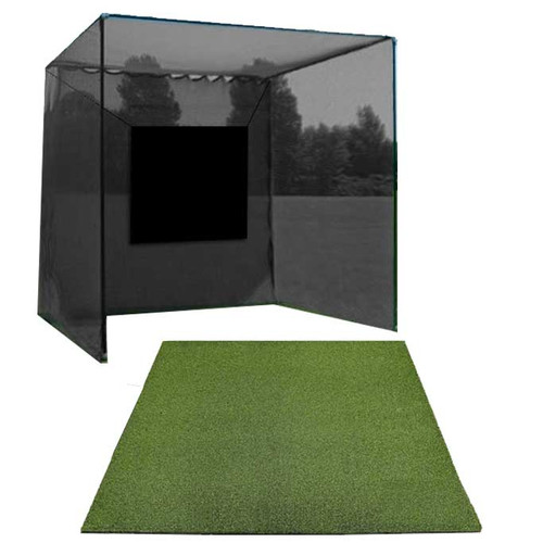5 Star High Velocity 10x10x10 Golf Cage and Multi-Club Golf Mat Combo