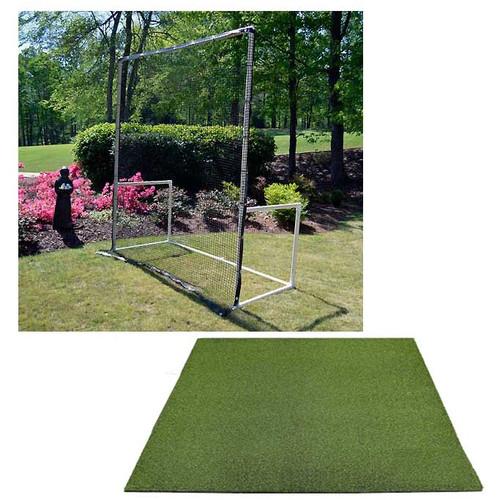 5 Star High Velocity 7x8 Golf Net and Frame + Multi-Club Golf Mat Combo