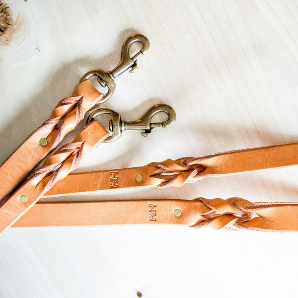 Natural Braided Leather Leash