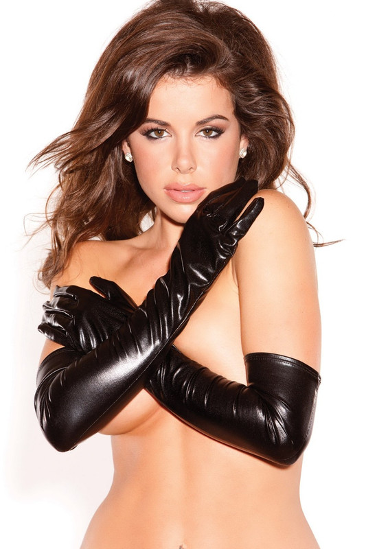 Allure Kitten Wet Look Sexy Seduction Gloves Black - One Size Fits All