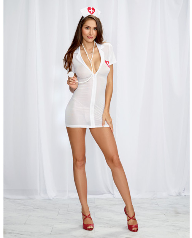 Dreamgirl 3 Pc Stretch Mesh Chemise With Front Zipper, Hat, & Stethoscope White/Red O/S