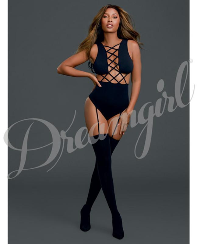 Dreamgirl Cross Vest Teddy Bodystocking Black O/S