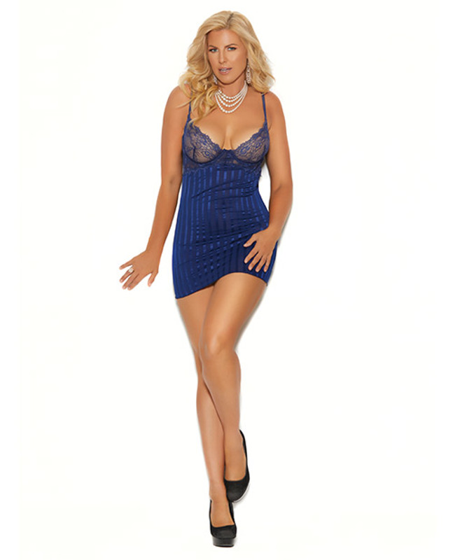 Elegant Moments Striped Satin & Mesh Underwire Babydoll With Adjustable Straps & G-String Panty Midnight Blue 3X