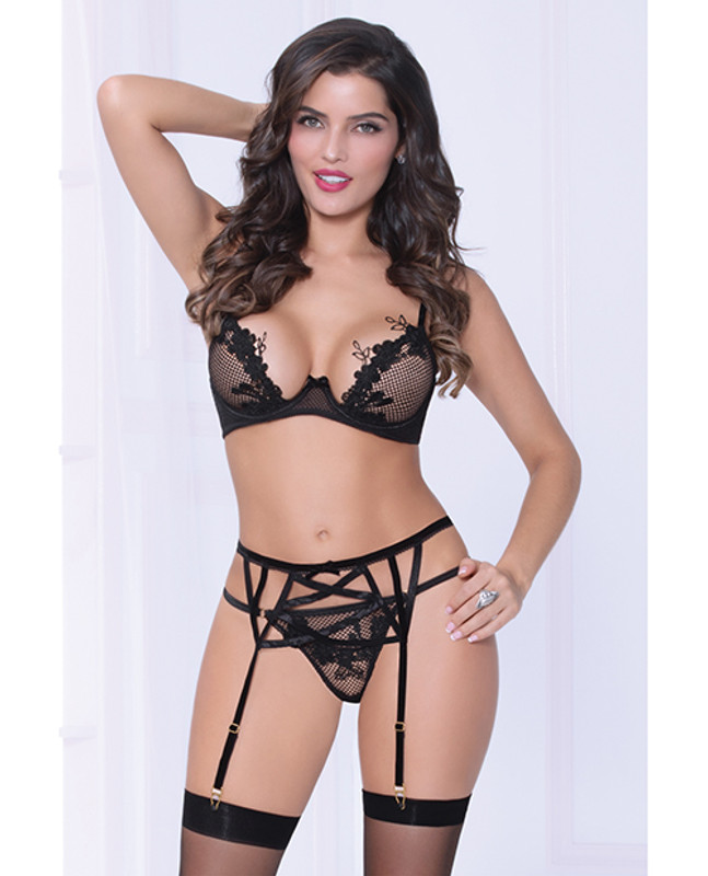 Seven 'til Midnight Netting Bra With Lace Applique, Strappy Garterbelt & Thong Black Lg