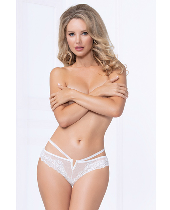 Seven 'til Midnight Strappy Lace Thong With Plunging V Detail White Lg