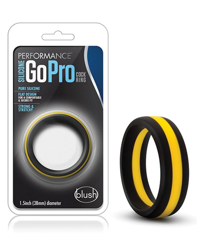 Blush Performance Silicone Go Pro Cock Ring - Black/Gold