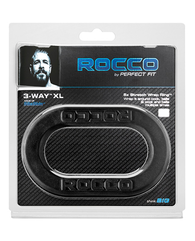 Perfect Fit Brand The Rocco 3 - Way Wrap Cock & Ball Ring - Black