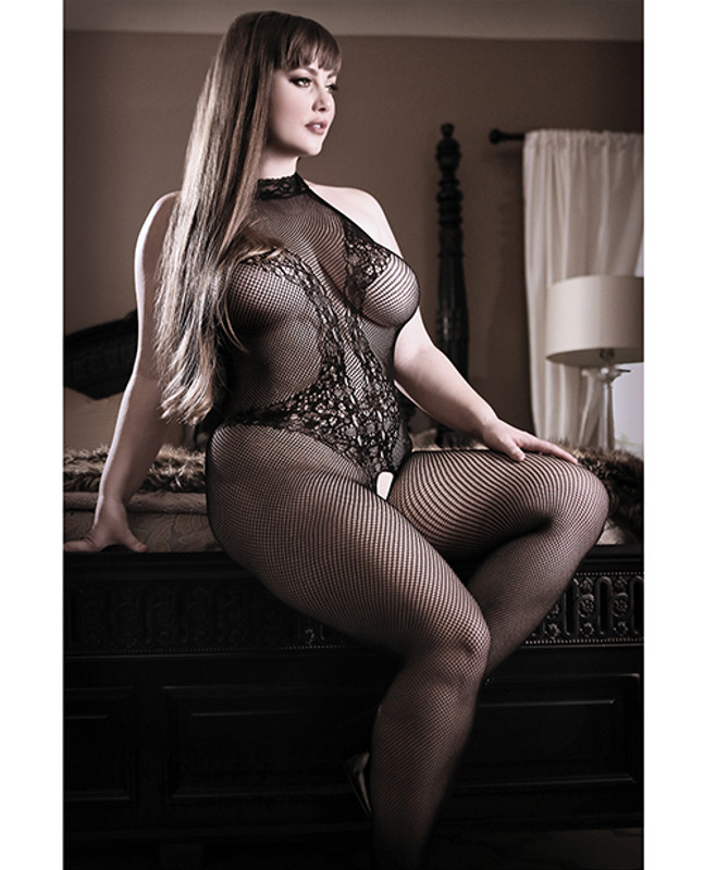 Fantasy Lingerie Sheer Fantasy Lace Halter Bodystocking With Ornate Tattoo Detail Black Qn