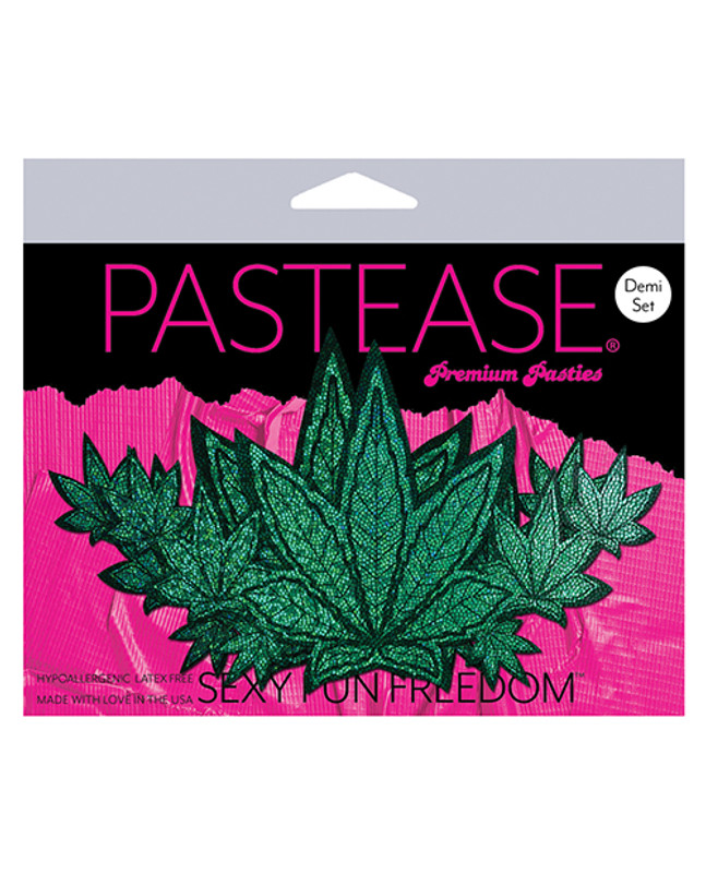 Pastease Demis Glitter Leaf - Green O/S Pasties