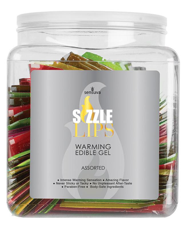 Sensuva Sizzle Lips Warming Gel Single Use Packet Tub - Asst. Flavors 6 Ml Packet Tub Of 100