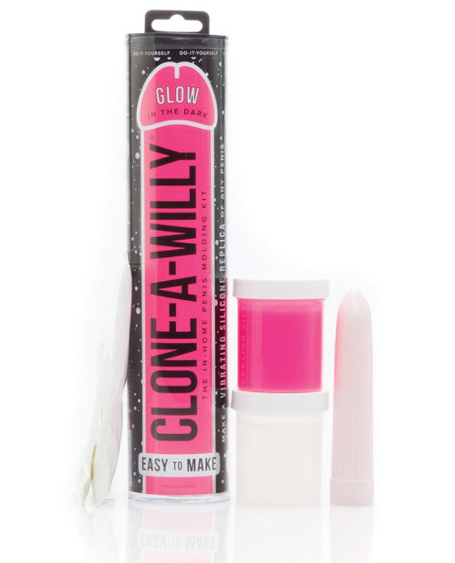 Clone - A - Willy Kit Vibrating Glow In The Dark - Hot Pink