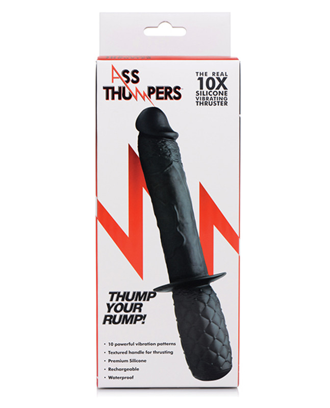 XR Ass Thumpers Real 10X Silicone Vibrating Thruster Butt Plug - Black