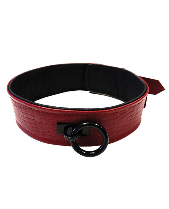 Rouge Fetish Plain Leather Collar - Burgundy