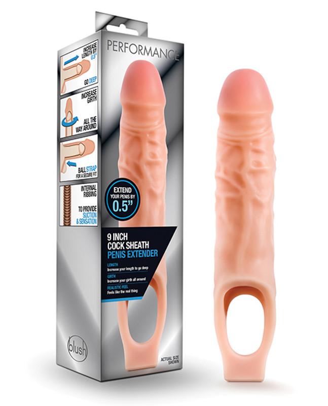 "Blush Performance 9"" Cock Sheath Penis Extender - Flesh"