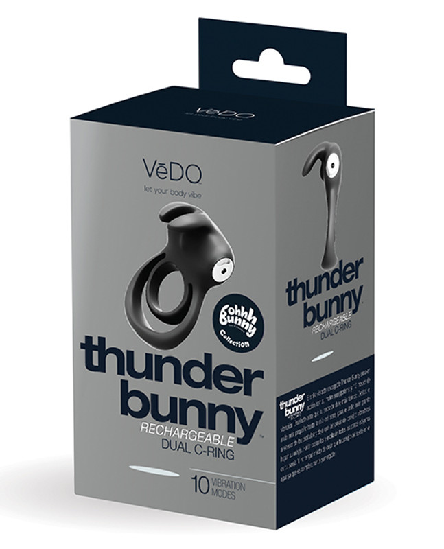VeDO Thunder Rechargeable Dual Cock Ring - Just Black