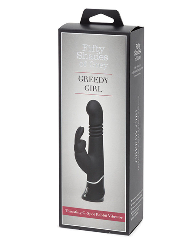 Fifty Shades Of Grey Greedy Girl Rechargeable Thrusting G-Spot Rabbit Vibrator - Black