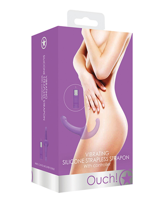 Shots Ouch Fetish Vibrating Silicone Strapless Strap On Dildo With Controller - Purple