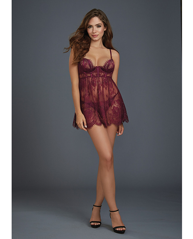 Dreamgirl Eyelash Lace Babydoll With Underwire Cups & Lace Thong Panty Mulberry Sm