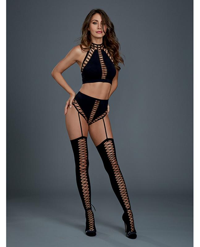 Dreamgirl Opaque Seamles Bralette & High Waisted Garter Panty & Thigh High Black O/S