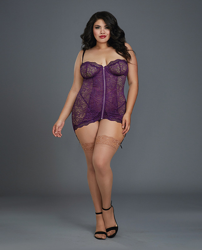 Dreamgirl Stretch Lace Garter Slip With Removable Straps & Attached Side Garters & G-String Panty Plum 3X