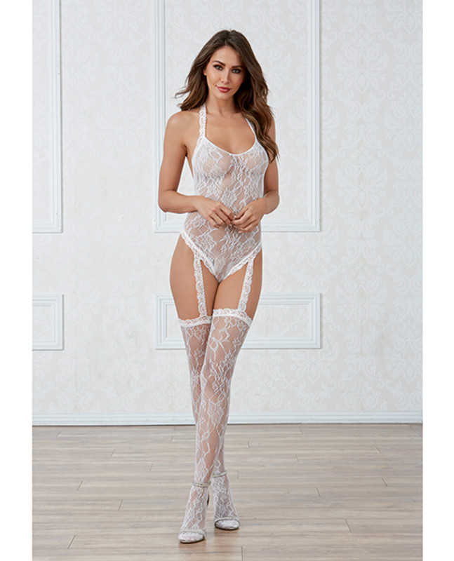 Dreamgirl Lace Teddy Bodystocking With Pearl Back & Attached Garters & Thigh High Stockings White O/S