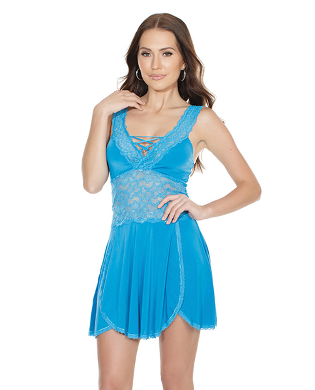 Coquette Scallop Stretch Lace & Microfiber Soft Cup Design Babydoll & Thong Panty Blue O/S
