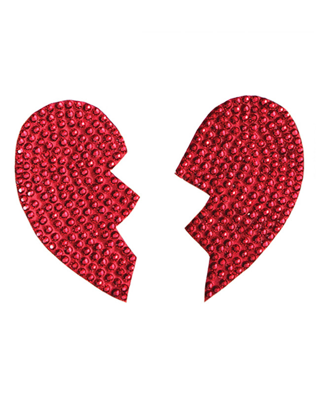 Coquette Rhinestone Broken Heart Reusable Pastie - Red O/S Pasties