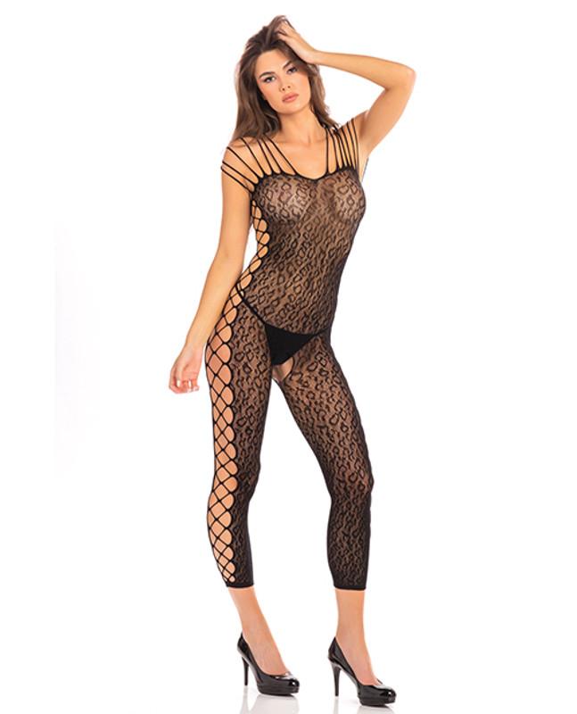 Rene Rofe Animal Crotchless Bodystocking Black O/S