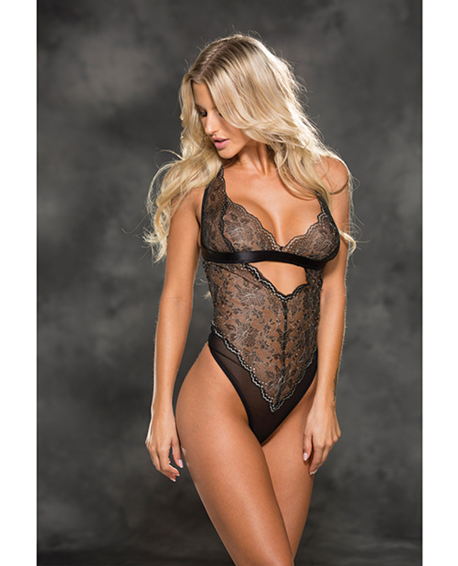 Shirley Of Hollywood Two Tone Stretch Lace Teddy Black/Ivory Lg