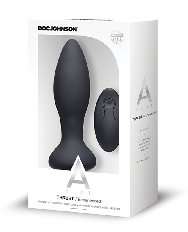 Doc Johnson A Play Thrust Experienced Rechargeable Silicone Anal Butt Plug With Remote - Black