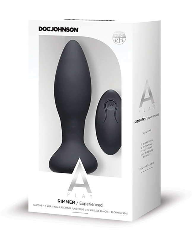 Doc Johnson A Play Rimming Experienced Rechargeable Silicone Anal Butt Plug With Remote - Black