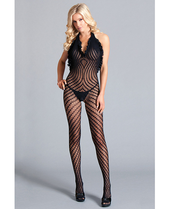 Be Wicked Crotchless Halter Bodystocking Scoop Low Back, Ruffle Trim With Asymmetrical Details Black Qn