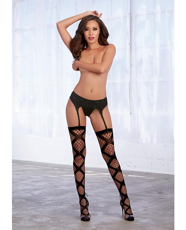 Dreamgirl Diamond Net Thigh High Stockings Black O/S - Bd0339 - Bk - Os