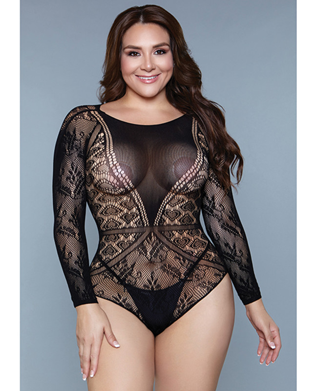 Be Wicked Heart Shaped Detail With Floral Lace Bottom Sleeves Bodystocking Black Qn
