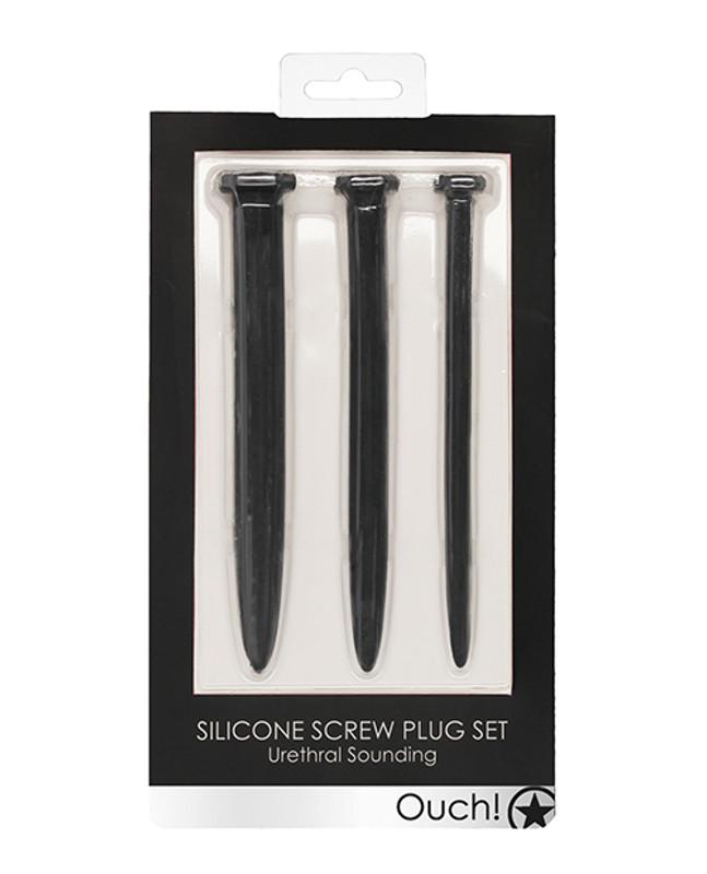 Shots Ouch Fetish Urethral Sounding Silicone Rugged Nail Plug Set - Black