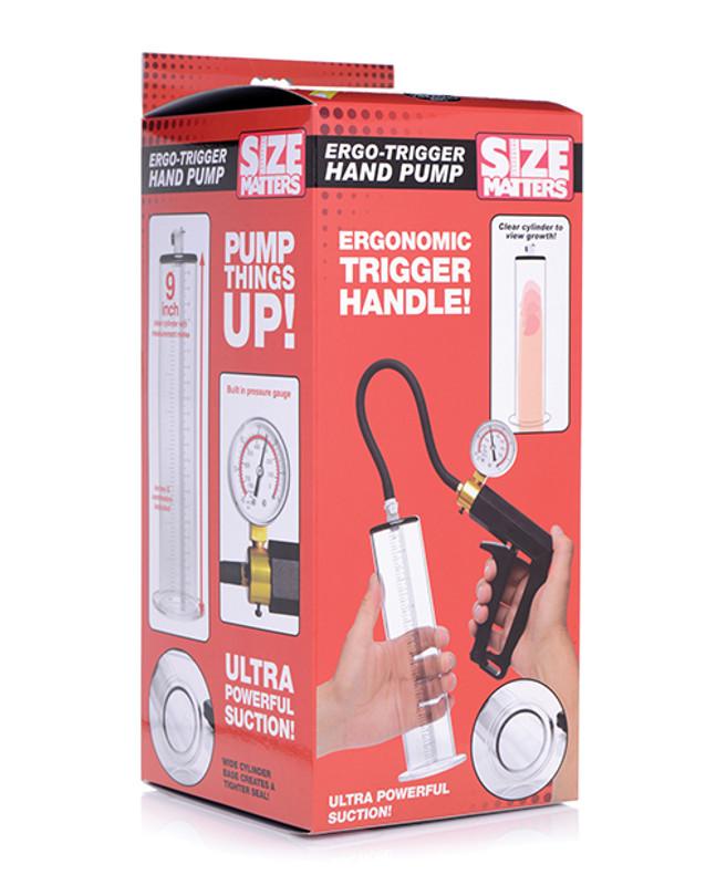 XR Size Matters Ergo Trigger Hand Penis Pump - Clear