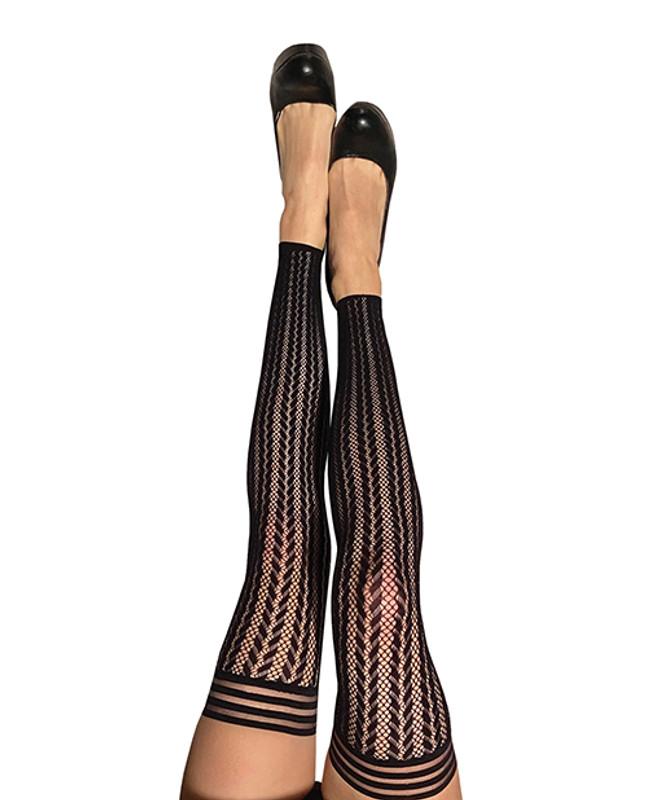 Kix'Ies Lindsay Footles Fishnet Stripe Thigh High Black B