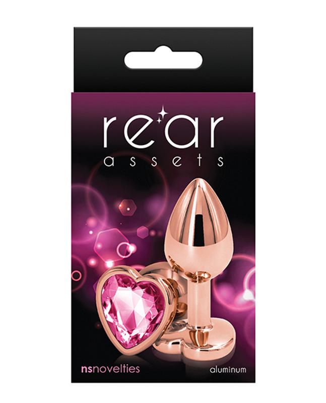 Rear Assets Rose Gold Heart Small Butt Plug - Pink