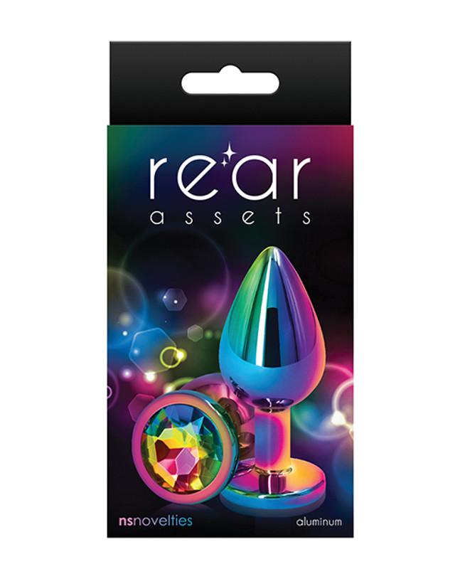 Rear Assets Mulitcolor Medium Butt Plug - Rainbow