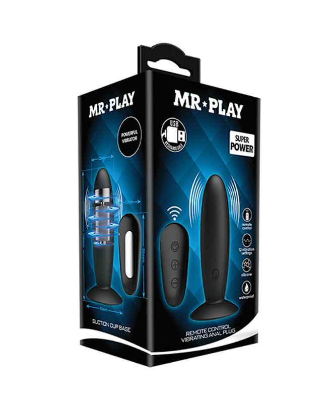 Mr.Play Remote Control Vibrating Butt Plug - Black