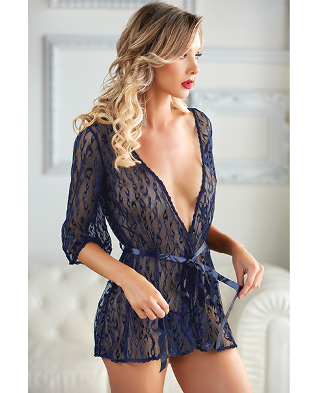 Allure Valentina Leopard Lace Robe & G-String Panty Azure O/S