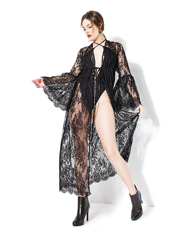 Coquette Darque Long Bell Sleeve Robe Black O/S