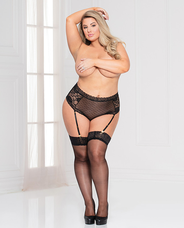 Seven 'til Midnight Lace & Dotted Mesh High Waist Panty With Removable Garters Black 1X/2X
