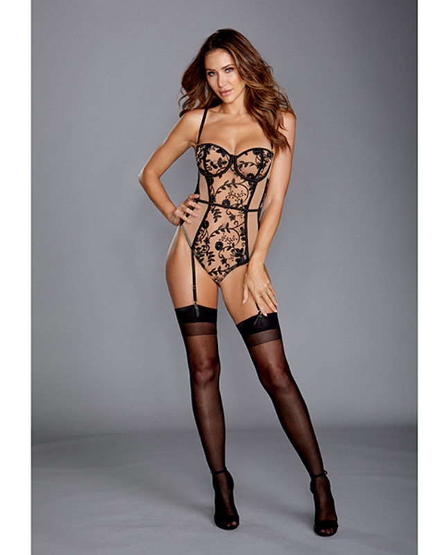 Dreamgirl Sheer Stretch Mesh Teddy With Black Embroidery, Adjustable Straps & Snap Crotch Nude/Black Xl