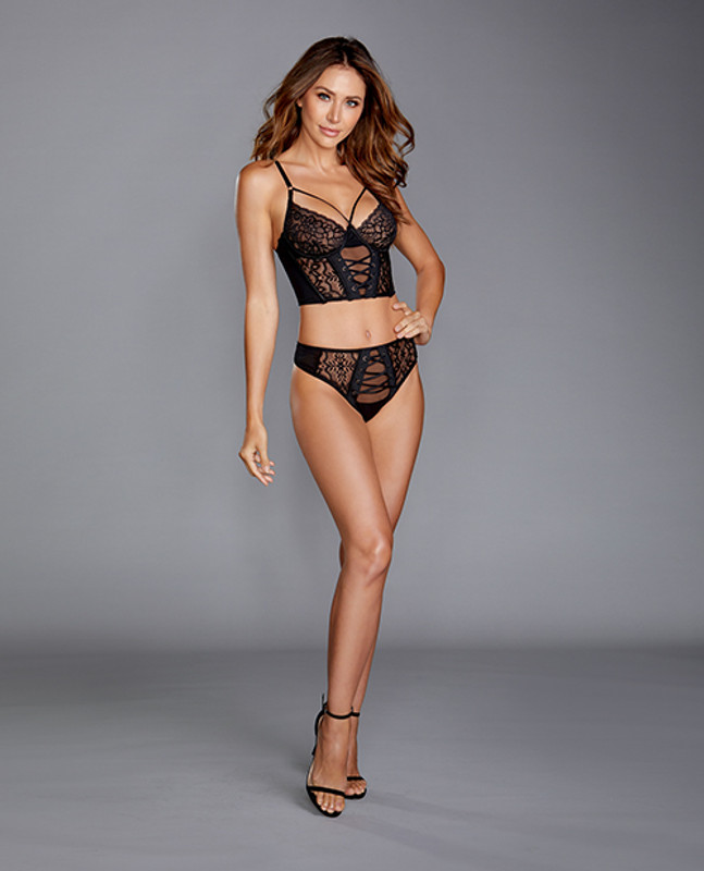 Dreamgirl Stretch Mesh & Galloon Lace Bustier With Matching Lace Up Thong Panty Black Lg