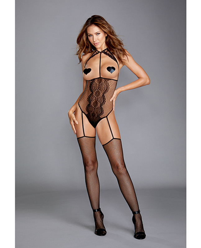 Dreamgirl Fishnet & Lace Teddy Bodystocking With Attached Garters & Thigh High Black O/S