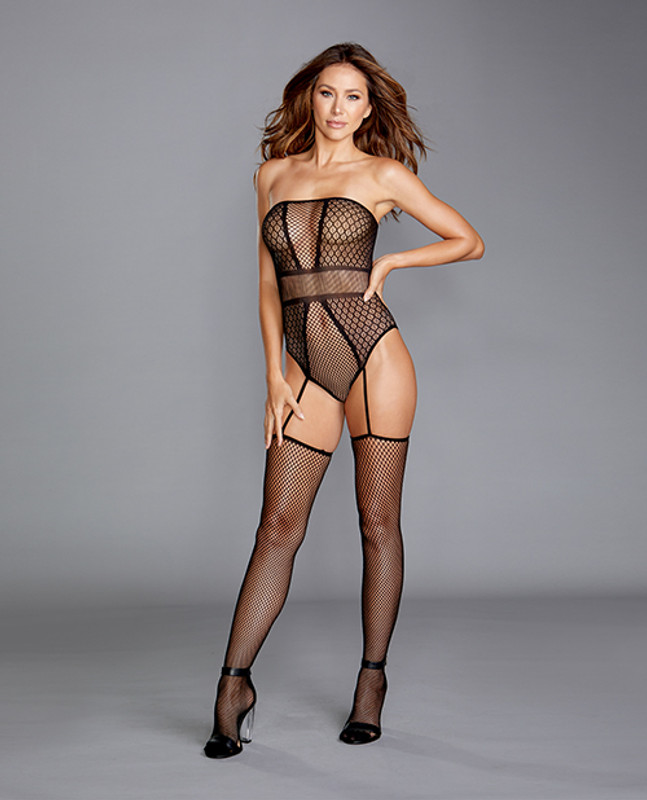 Dreamgirl Strapless Teddy Bodystocking With Attached Garters Black O/S