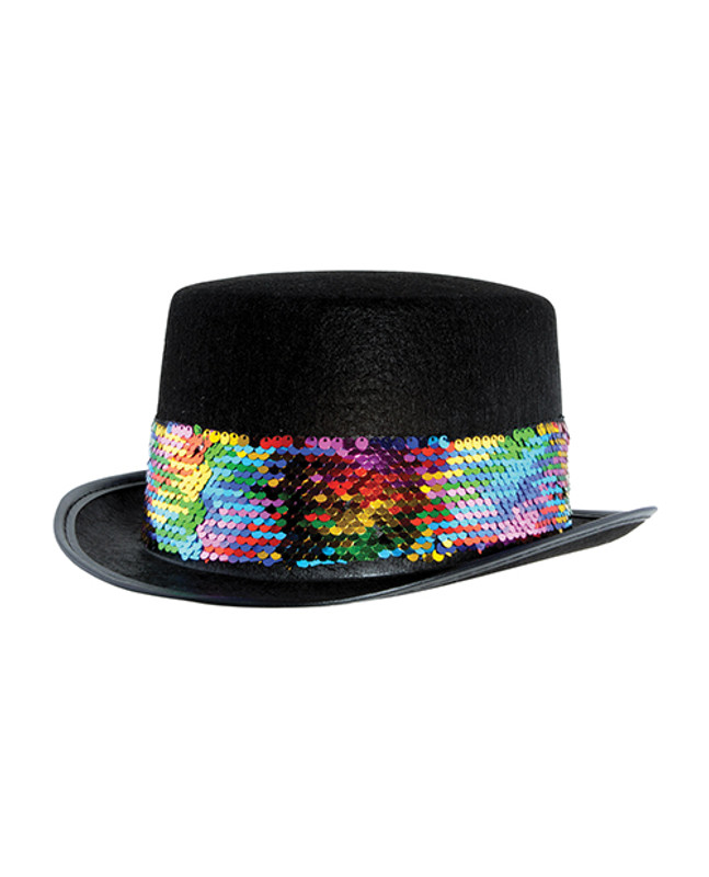 Pride Felt Topper With Rainbow Sequined Band - Black