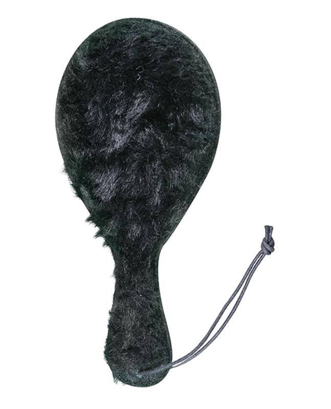 Plesur Fetish Faux Fur Leather Ping Pong Paddle - Black