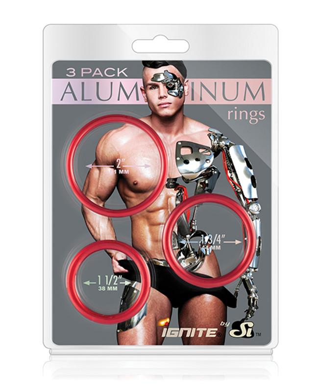 Si Novelties Aluminum Cock Rings - Hellfire Pack Of 3